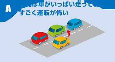 A:地元は車がいっぱい走っていてすごく運転が怖い