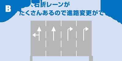 B:えっ、右折レーンがたくさんあるので進路変更ができない
